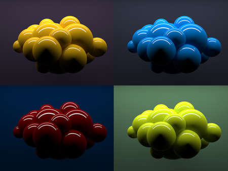 conception: Abstract spheres, conception of digital cloud icon. 3d render illustration