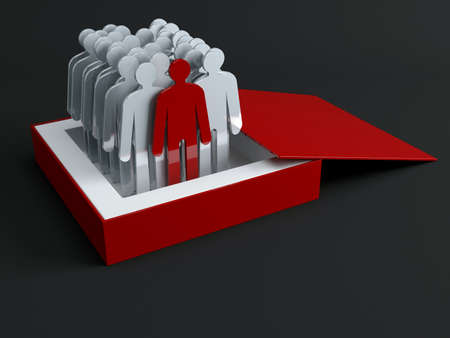 dissident: The crowd of people signs. Conception of leadership Stock Photo
