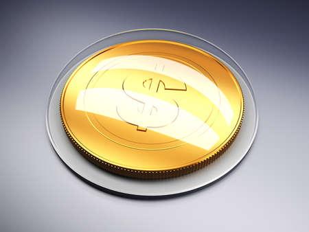 Golden coin with dollar sign on dark background. 3d render illustration