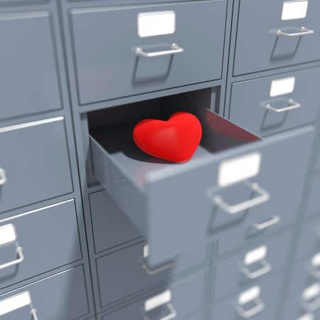 Heart in opened coffer. 3d render illustration