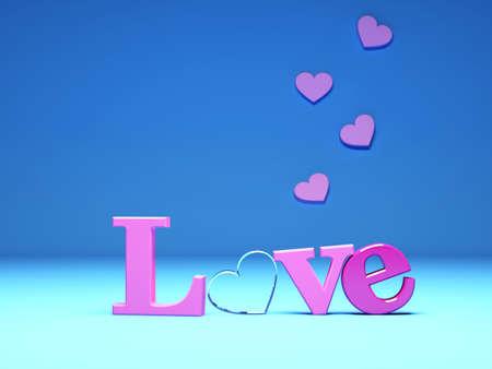 pink Love and hearts on blue background. 3d render illustration