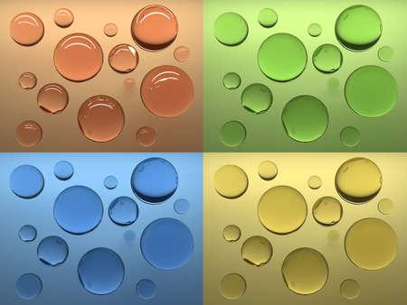Soap bubbles at coloured background.3d render illustration