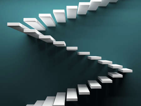 Abstract stairs at coloured background. 3d render illustration Фото со стока