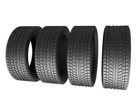 Four tires isolated on white background. 3d render illustration