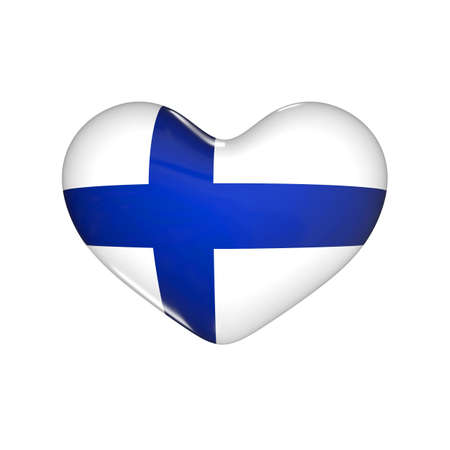 flag of Finland on the heart. 3d render illustration