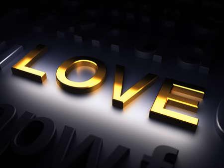 Love. Golden word on metal background. 3d render illustration