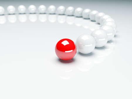 liderazgo: Bola roja delante de bolas blancas. Concepción de liderazgo. 3d