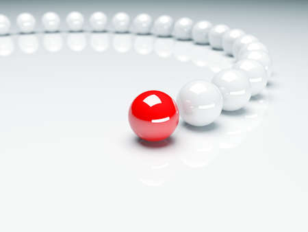 focus: Red ball ahead of white balls. Conception of leadership. 3d render