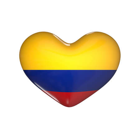 flag of Colombia on the heart. 3d render illustration