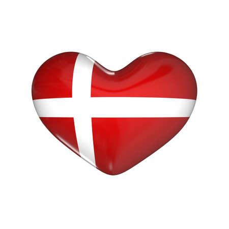 flag of Denmark on the heart. 3d render illustration
