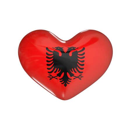 flag of Albania on the heart. 3d render illustration Фото со стока