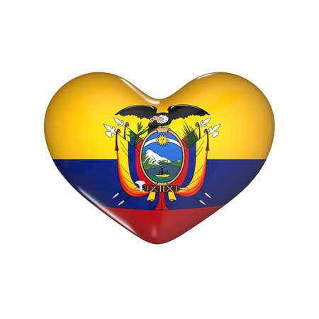 flag of Ecuador on the heart. 3d render illustration Фото со стока