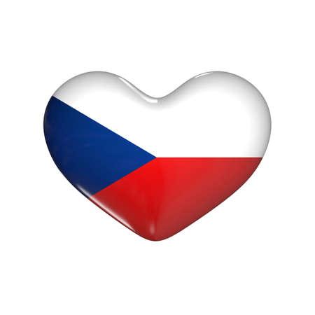 flag of Czech on the heart. 3d render illustration