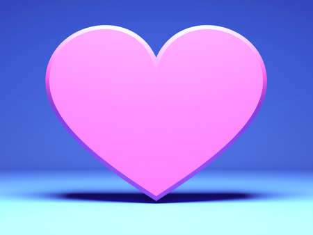 pink Heart on blue background. 3d render illustration