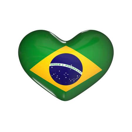 flag of Brazil on the heart. 3d render illustration