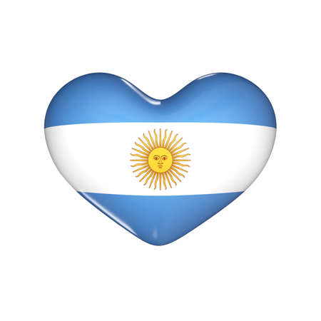 flag of Argentina on the heart. 3d render illustration