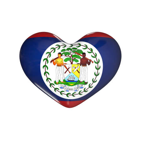 flag of Belize on the heart. 3d render illustration