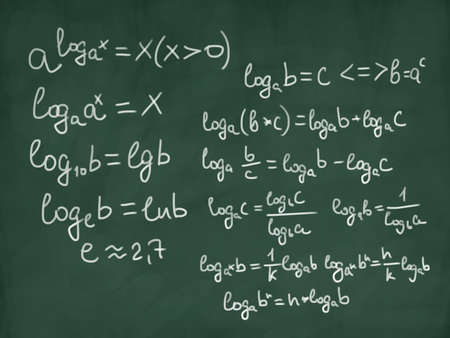 math physics formulas on green chalkboard Фото со стока