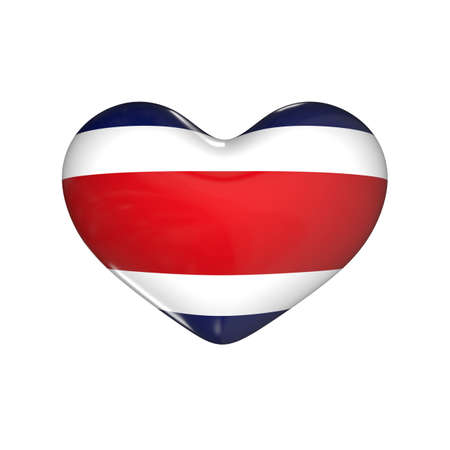 flag of Costa Rica on the heart. 3d render illustration Фото со стока