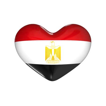 flag of Egypt on the heart. 3d render illustration