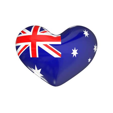 flag of Australia on the heart. 3d render illustration