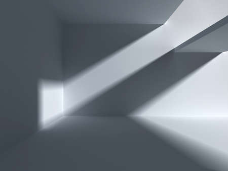 Architectural abstraction with falling light. 3d empty apartment render Фото со стока