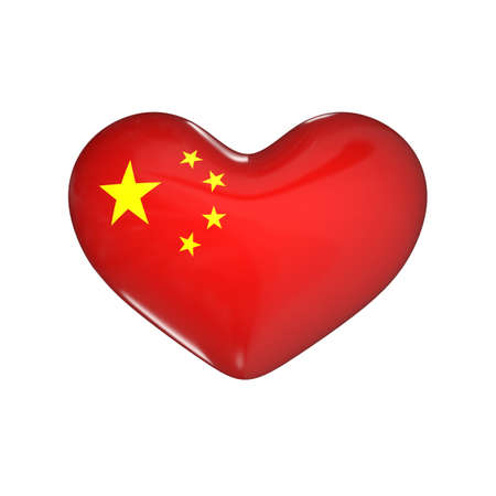 flag of China on the heart. 3d render illustration Фото со стока