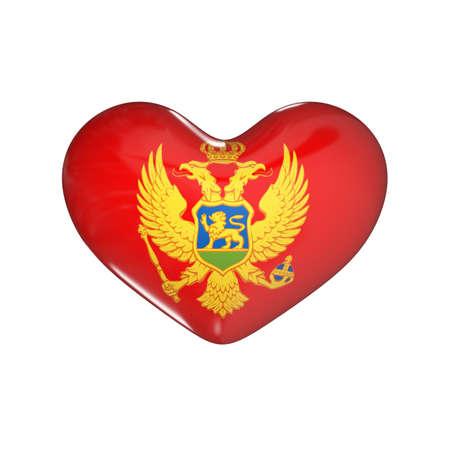 flag of Montenegro on the heart. 3d render illustration