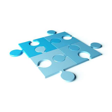 settle: Four blue puzzles on white background. 3d render illustration Stock Photo