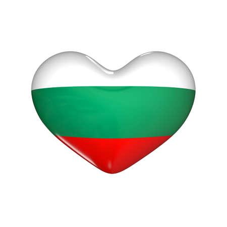 flag of Bulgaria on the heart. 3d render illustration