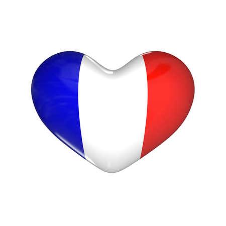 flag of France on the heart. 3d render illustration