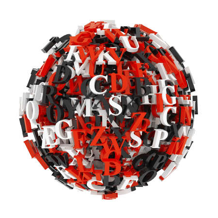 Ball from coloured letters at white background. 3d render illustration Фото со стока