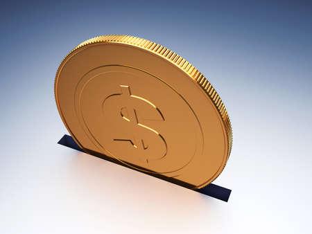 Dollar coin. Concept of savings. 3d render illustration Фото со стока