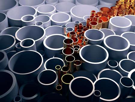innovación: Oro tubería innovadora. El concepto de innovación. 3d ilustración