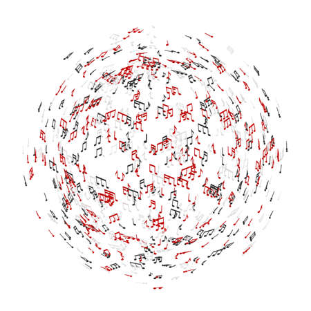 globe theatre: Sphere of music notes at white background