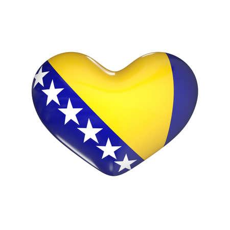 flag of Bosnia and Herzegovina on the heart. 3d render illustration Фото со стока