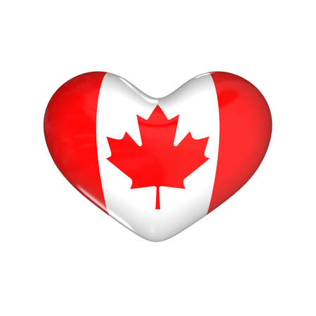 flag of Canada on the heart. 3d render illustration
