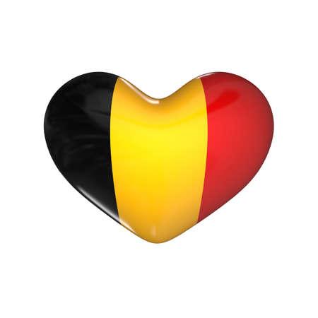 flag of Belgium on the heart. 3d render illustration