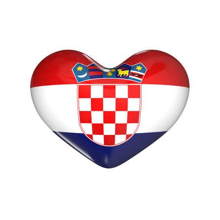 flag of Croatia on the heart. 3d render illustration