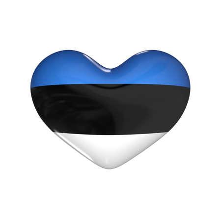 flag of Estonia on the heart. 3d render illustration
