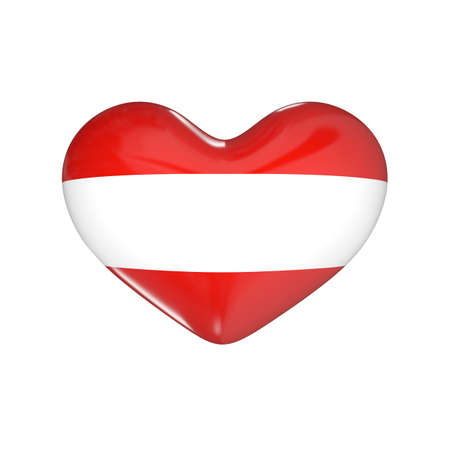 austria: flag of Austria on the heart. 3d render illustration Stock Photo