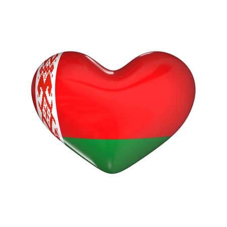 flag of Belarus on the heart. 3d render illustration