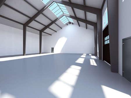 Empty storage. 3d render interior