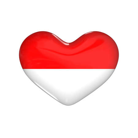 flag of Indonesia on the heart. 3d render illustration Фото со стока