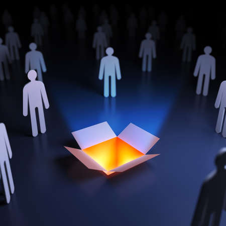 People around the open box. Abstract innovation. 3d render illustration Фото со стока