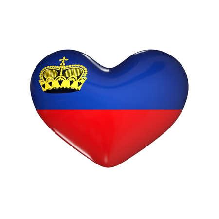 flag of Liechtenstein on the heart. 3d render illustration