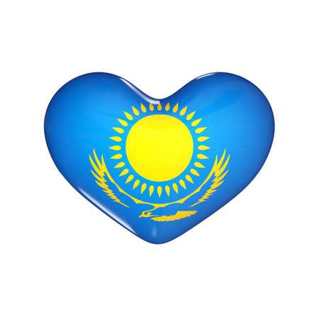 flag of Kazakhstan on the heart. 3d render illustration