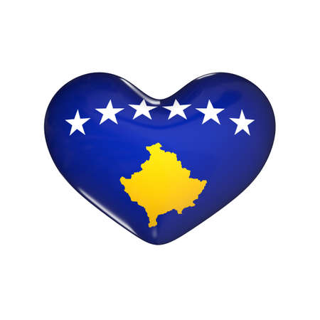 flag of Kosovo on the heart. 3d render illustration Фото со стока