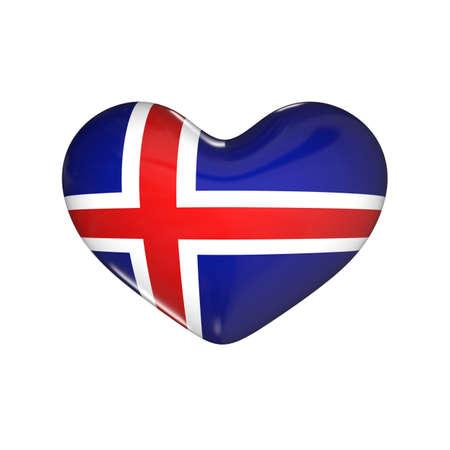 flag of Iceland on the heart. 3d render illustration
