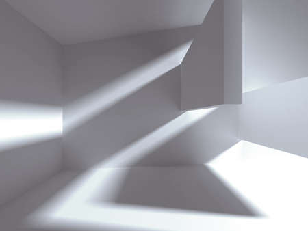 Architectural construction with falling light. 3d render illustration Фото со стока